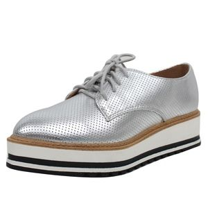 Shoes - Silver Oxford White Sole Flatform Shoes